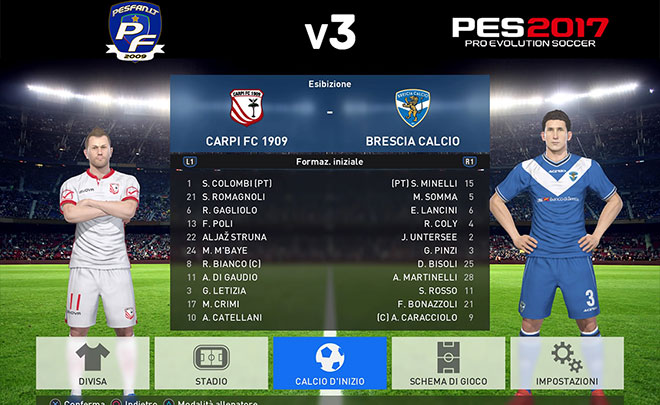 PES 2017: Ecco il V3 Option File di PES Fan con la Serie B