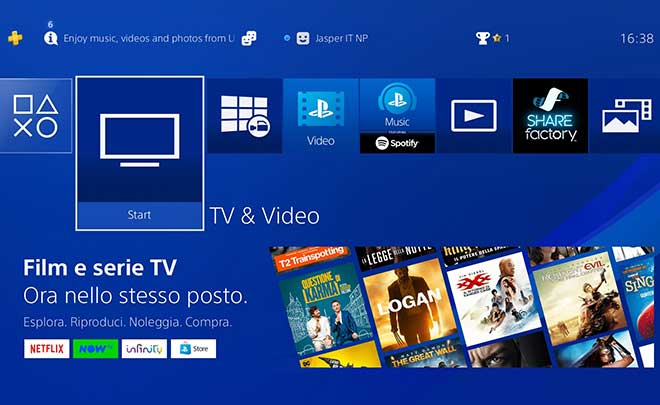 PlayStation 4: cambia l'interfaccia per video e servizi TV